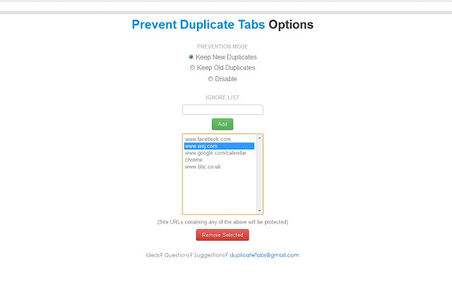 Prevent Duplicate Tabs Screenshot