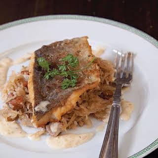 Sauerkraut with Fish in Cream Sauce.