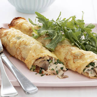 Baked Chicken and Mushroom Crêpes.