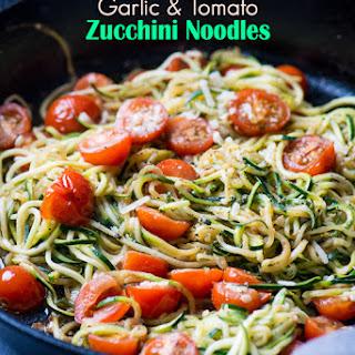 Italian Zucchini Noodles with Garlic, Tomato and Parmesan Recipe