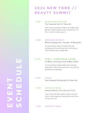 New York Beauty Summit - Planner template