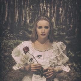 Iza by Grzegorz Wagner - People Portraits of Women ( bride, makeup, oczy, forest, pretty, pi?kno, woman, book, tree, ksi??ka, portrait, cute, eyes, eye, iza, face, hair, white, model, rose, modelka, las )