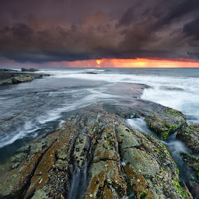 A Fiery Awakening by Jason Asher - Landscapes Waterscapes ( clouds, n s w, water, sand, waterscape, waves, sea, yamba, nsw, new south wales, overcast, beach, seascape, coastline, sun, golden light, fiery, dawn, north coast, angourie, sunrise, rocks, mist )
