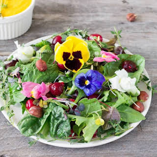 Forest Salad with Carrot Raspberry Ginger Dressing.