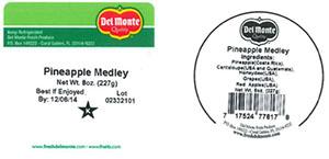 Label, Del Monte Pineapple Medley, 8 oz.