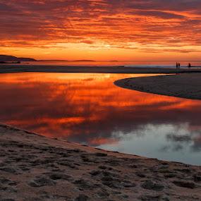 Sabon by Jose María Gómez Brocos - Landscapes Sunsets & Sunrises ( clouds, sand, reflection, red, sky, dawn, sunset, sea, seascape, beach, sun )