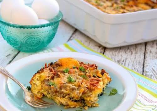 """Cheesy Sausage and Spinach Breakfast Strata """"This strata is delicious! We love..."""