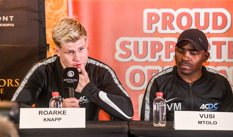 Roarke Knapp and Vusi Mtolo during the Razoravskiy Sharp Box and Dine press conference at Augustus room, Convention Centre in Johannesburg, South Africa.