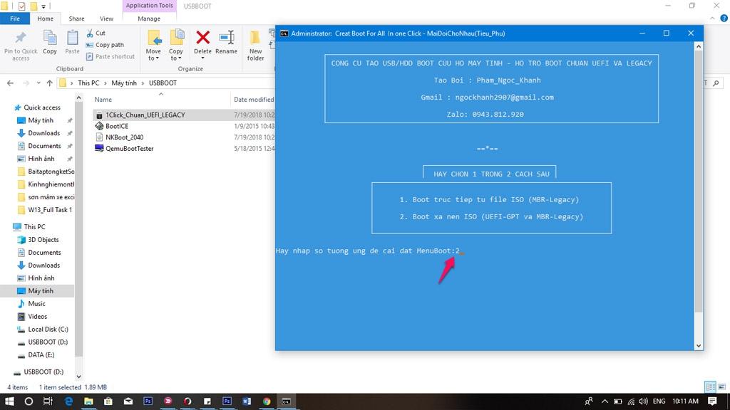 Tiến hành nhập 2 để tiến hành tạo Boot trên USB