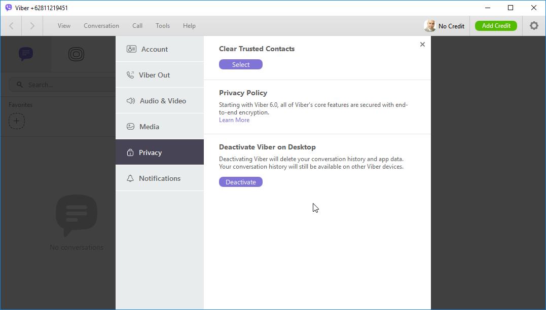 thumbapps.org Viber Portable, Settings -> Privacy