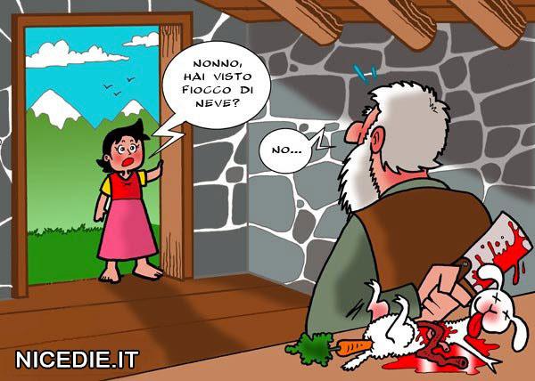 Heidi chiede al nonno se ha visto fiocco dineve, lui risponde no, ma dietro di lui si vede che lo stava preparando per il forno