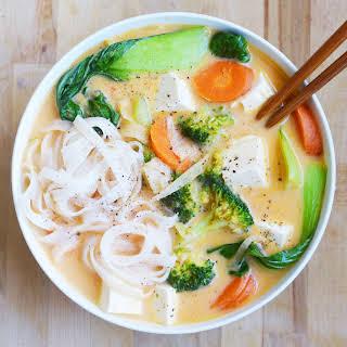 Coconut Curry Noodle Soup- My Favorite Takeout Copycat! Vegan + Gluten-Free.