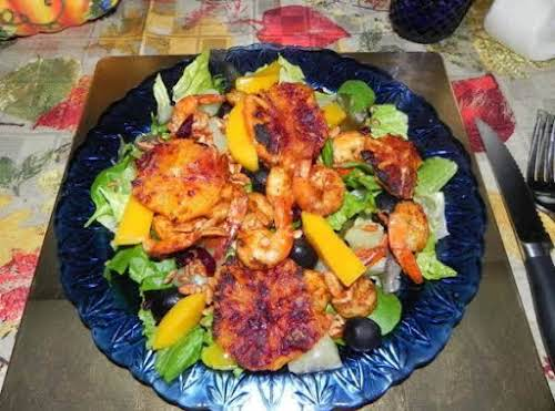 """Blackened Shrimp Salad with Roasted Oranges """"Wow, is this a flavorful and..."""