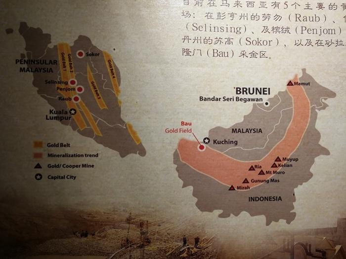 Peta tiga kawasan melombong emas di Malaysia iaitu Selinsing, Penjom, Raub dan Bau.