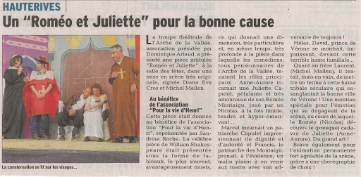 """article """"Roméo et Juliette"""" de l'arche de la vallée dans le dauphiné libéré"""