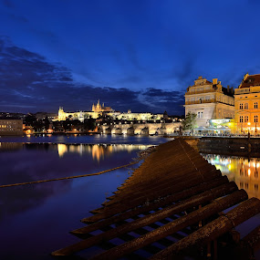 Prague by Ronnie Bergström - City,  Street & Park  Street Scenes ( water, prag, evening, prague, city )