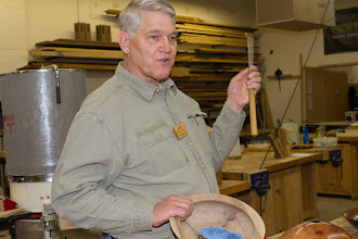 "Photo: Bert Bleckwenn, previous winner of the Bring-Back Challenge, made a tool handle for a Bob Rosand 1/4"" round skew.   Ed Karch won the tool and will  bring something back next month."