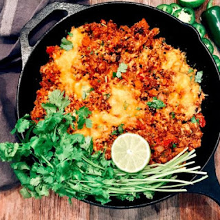"Mexican-Style Cauliflower ""Rice"" with Chorizo."