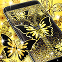 Golden butterflies lock screen icon