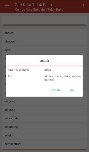 Kamus Kata Baku dan Tidak Baku capturas de pantalla 4