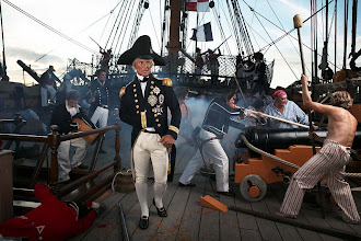 Photo: Nelson on deck of HMS Victory as the Battle of Trafalgar rages around him
