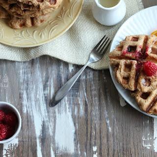 Whole Wheat Raspberry Leige Waffles with Lemon Syrup