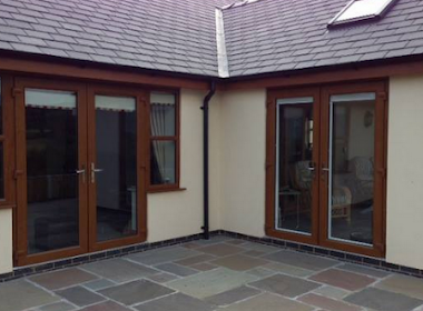 French Doors with Wooden Finish