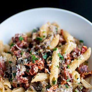 Chorizo Penne With Mushrooms and Sun-dried Tomatoes.