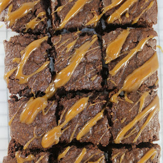 Espresso Brownies with Peanut Butter Caramel Sauce