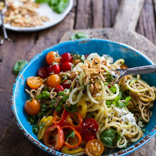 Farmers Market Sesame Miso Noodle Bowls with Garlic Chips..