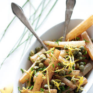 Black Salsify with Caper and Chives.