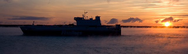 Photo: Sunrise aboard M/S SIlja Galaxy on way from Turku, Finland to Stockholm, Sweden