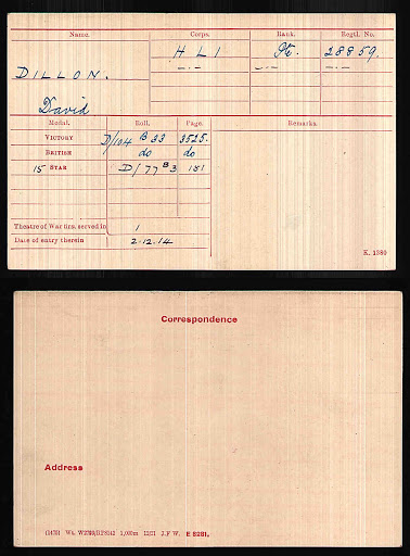 David Collie Dillon's Medal Index Card