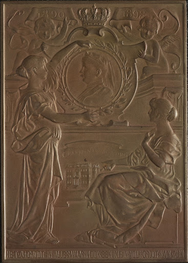 Rectangular bronze medal, commemorates the Dowager