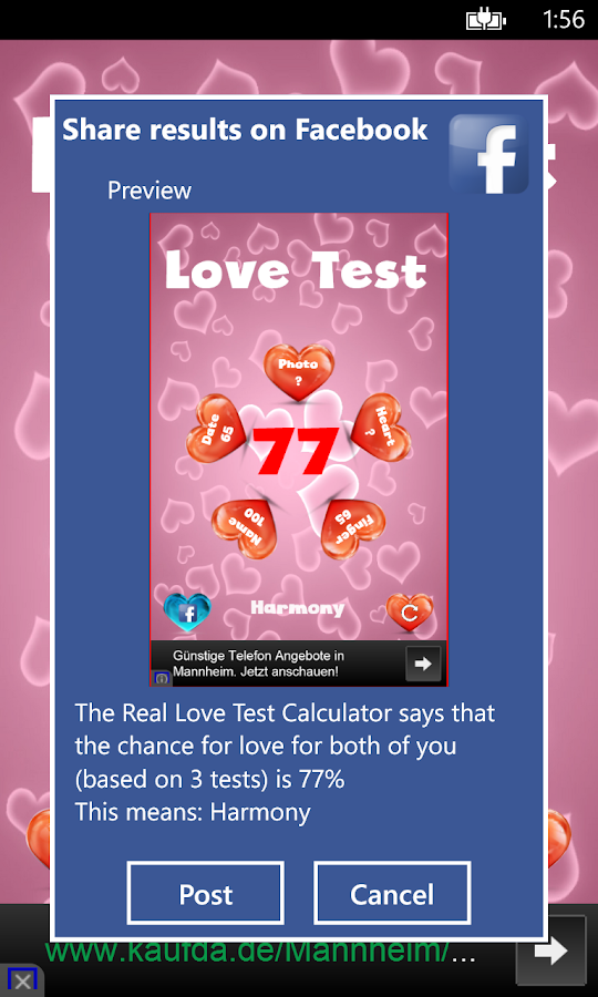 Love Test Calculator for Fun- screenshot