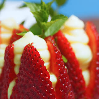 Strawberries Filled with Almond Cream.
