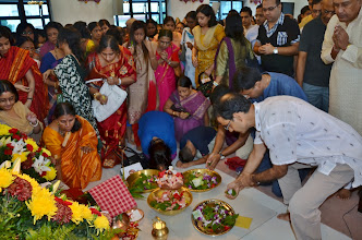 Photo: All the devotees offered Pushpanjali after the morning Puja.