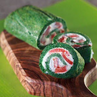 Spinach Roulades with Feta Cream and Roasted Red Peppers