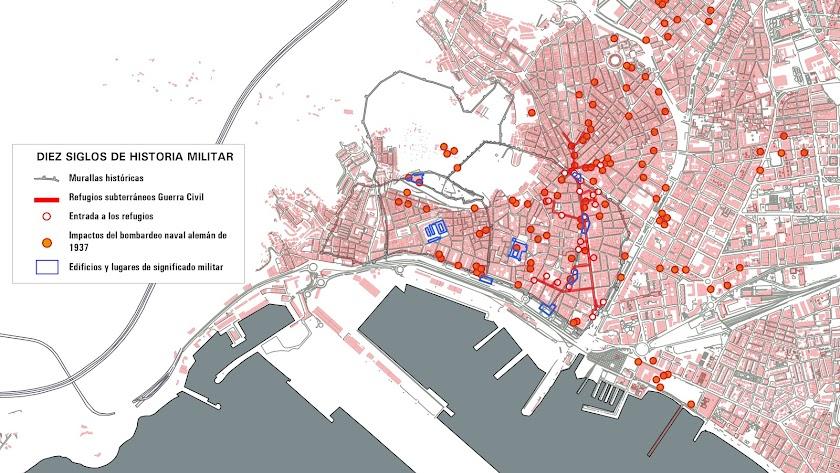El mapa resume alguno de los items destacados de diez siglos de historia militar en la ciudad de Almería.