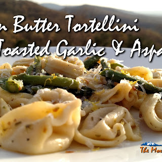 Brown Butter Tortellini with Toasted Garlic and Asparagus.