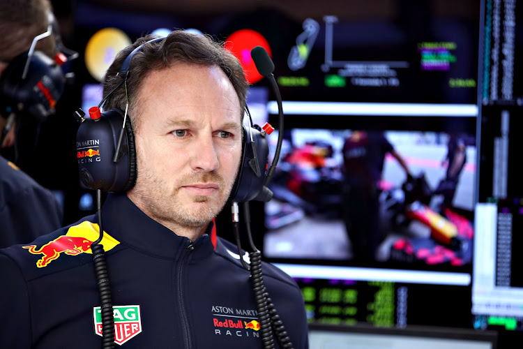 Red Bull Racing Team Principal Christian Horner looks on in the garage during day three of F1 Winter Testing at Circuit de Catalunya on February 20, 2019 in Montmelo, Spain.