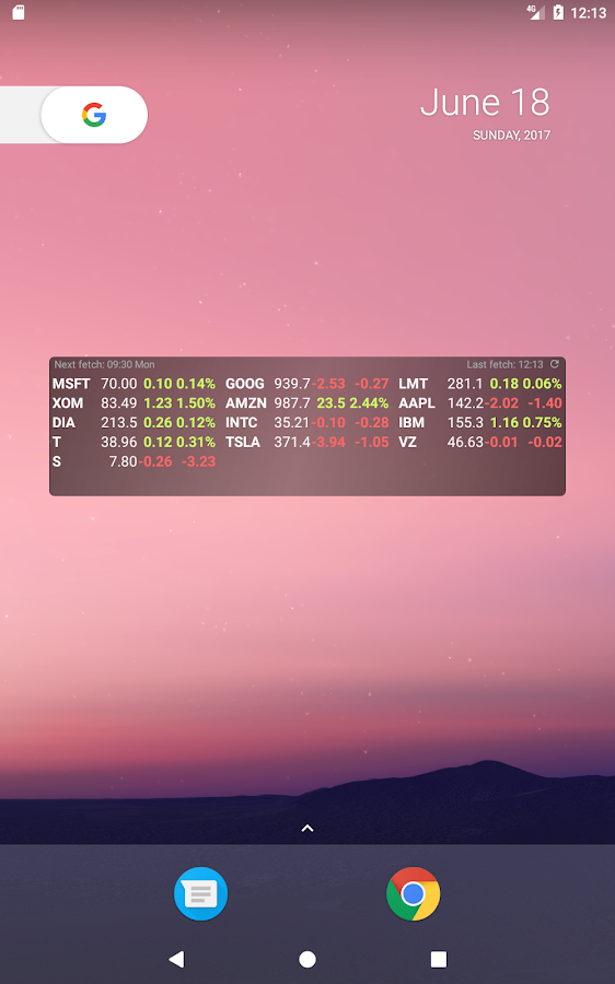 Stocks Widget- screenshot