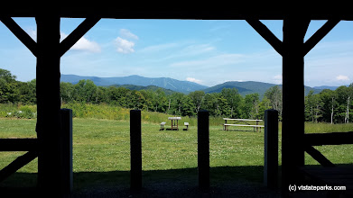 Photo: View looking out of the Bradley Hill shelter by Ellen McCarron