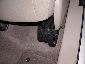 Photo: So I was thinking I'd need to fabricate a new speaker bracket and figure out where to mount it. Turns out there was a convenient hole in the seat mounting bracket that works perfectly for mounting the 2-way speaker. I love it when a neat, and elegant (and free) solution appears in front of your eyes