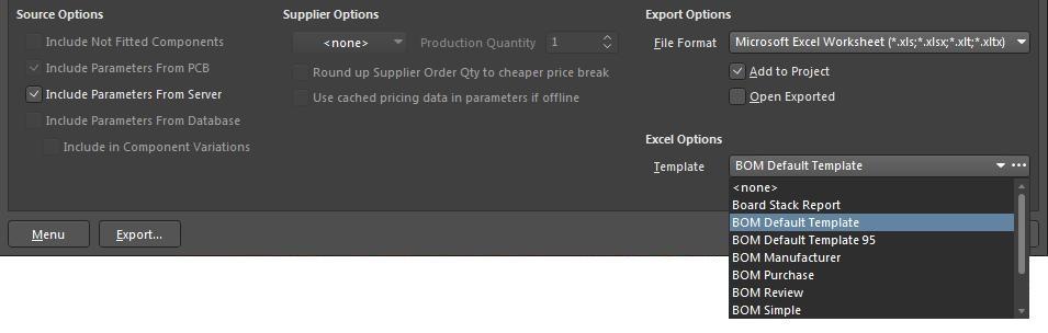 Screenshot der BOM-Excel-Optionen von AD18