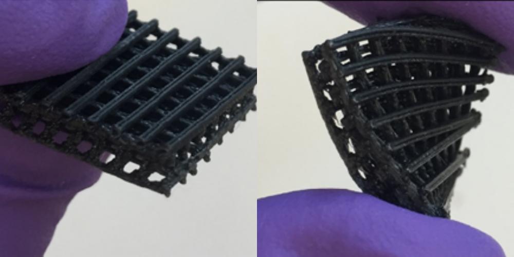 Пример гибких 3D печатных клеточных каркасов в исследованиях в Case Western Reserve University.