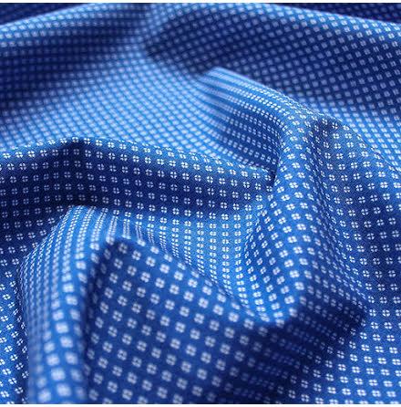 Mönstrad Bomullspoplin - blå