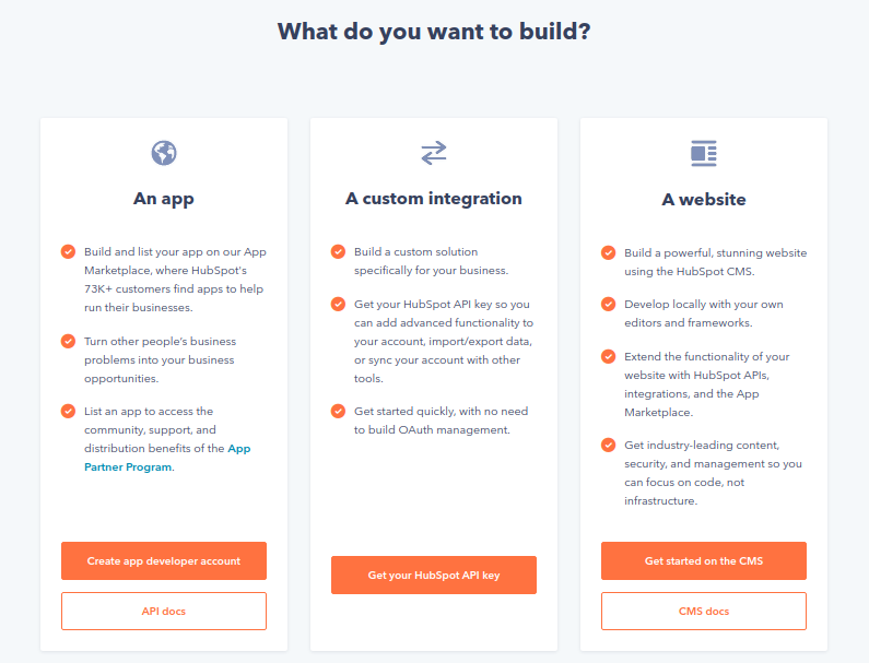 Choose the A custom integration and click on Get your HubSpot API key button