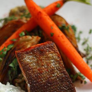 Harissa Maple Glazed Salmon with Lentils and Braised Fennel