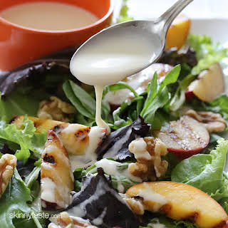 Grilled Stone Fruit Salad with Honey Goat Cheese Dressing.